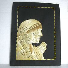 "Mother Therese natural rice straw & cloth collage-picture 11.6""x9"" www"
