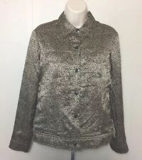Worthington Womens Small Leopard Print 100% Silk Lined Filled Blouse Jacket
