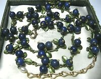 Gorgeous Vintage Style Real Lapis Lazuli Stone BEAD Blueberries Enamel NECKLACE