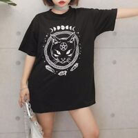 Women Tops Cat Printed Female Harajuku T-Shirt Short Sleeve Loose Summer T Shirt