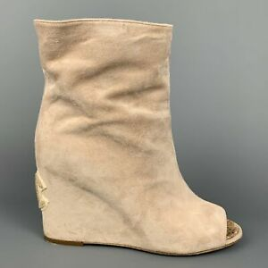 CHANEL Size 6.5 Beige Suede Peep Toe Ankle Boots
