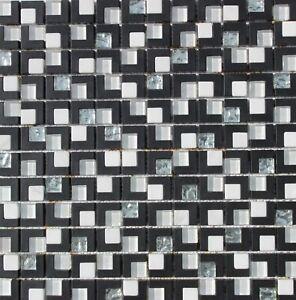 Black White Silver Sparkling Glass Mosaic Back Splash Tile Wall Bath Bar Tiles
