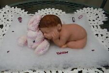 """3 1/2"""" POLYMER CLAY OOAK BABY DOLL LAYING ON NEW ROSS BUNNY"""