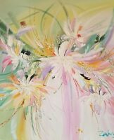 Zahra Original Oil Painting on Canvas of a Floral Landscape Hand Signed W/COA.