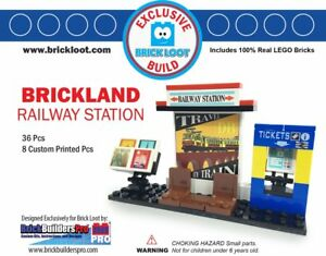 Exclusive Brick Loot Railway Train Station - 8 Custom Printed