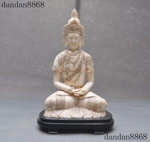 "14""Excellent Cattle bone Carved Thailand Thai Sakyamuni Shakyamuni Buddha statue"