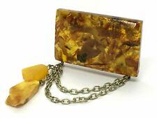 Old Vintage Amber BROOCH Antique Pressed Natural Baltic Amber Beads 15,9g 9694