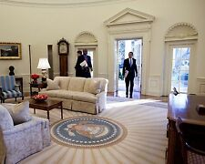 President Barack Obama walks into Oval Office on first day as Pres. Photo Print
