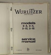 Wurlitzer Model D-4, D-5, D-15 and D-16 Organ Service Manual