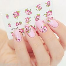 Bloomy Red Rose Flower Nail Art Water Transfer Decal Sticker Decoration Tips