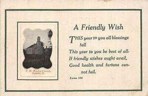 H66/ Zaleski Ohio Postcard c1910 F.W. Baptist Church Building  158