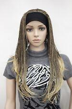 Brown Blonde Mixed Long Beaded braids Women Lady 3/4 half wig headband FTLG053
