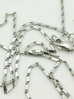 """14k Solid White Gold Lumina Bar Link Necklace Chain 18"""" 1.0mm"""