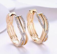 """9ct 9K Yellow """"Gold Filled """"C/ Z Crystals Hoop Earrings. Christmas Gift FREE BOX"""