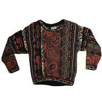 Vintage COOGI Sweater Womens Small 3D Texture Biggie Smalls Hip Hop Multicolor