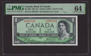 Canada 🇨🇦 1954 - $1 Devil's Face, Beatie|Coyne Sig. - PMG Choice UNC 64