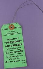 Original c1950s Unused Prestone Anti-freeze Radiator Tag With Wire Tie