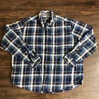 Eddie Bauer Long Sleeve Button Up Shirt Men's XXL Blue Plaid Cotton