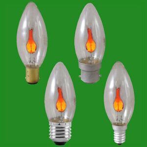 3W Flicker Flame Candle Clear Light Bulb Chandelier Lamp B22 B15 E27 E14