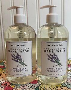 2 NATURE LOVE MOISTURIZING HAND WASH LAVENDER + COCONUT OIL 16.9 OZ. JOCOTT