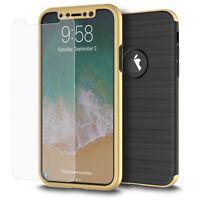 Handyhülle Samsung Galaxy S7 Edge Full-Cover Carbon Case Schutz Bumper Etui Gold