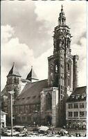 """Ansichtskarte Heilbronn am Neckar """"Kilianskirche mit Autos und Passanten"""" s/w"""