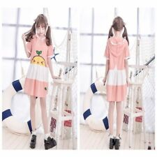 Lolita Cartoon Plaid Hooded Dress Style Kawaii Girls' Skirt Home Wear Pink