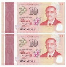 Singapore SG50 $10 banknotes - 2 runs  UNC  Nice Number 5BF159841-42 (SG-3)