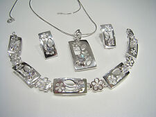 Beautiful Solid 925 Sterling Silver Jewellery Set + Free Snake Chain & gift box