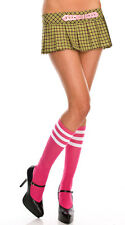Opaque Athletic Striped Top Knee High Tube Socks School Girl Knitted Stockings