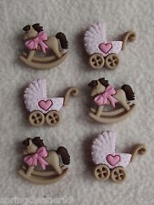DRESS IT UP BUTTONS ~ HORSE & BUGGY -  GIRL ~ ROCKING  HORSE ~ PRAM ~ BABY GIRL