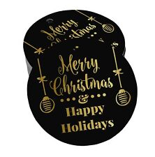 Real Foil Merry Christmas & Happy Holiday Tags Favor Hang Paper Tags-HY-SH2_26BG