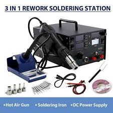 3 in 1 Soldering Rework Station 853D Solder SMD Hot Air Iron Gun DC Power Supply