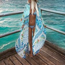 Chiffon Maxi Floor Length Bikini Open Top Boho Printing Cover Up Sunscreen Shirt