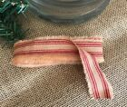 "4 Yard Primitive Fabric Strip 3/4"" wide HOMESPUN RED STRIPE Christmas Farmhouse"