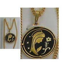 Damascene Gold Virgin Mary with Flower Pendant Necklace by Midas of Spain 4217