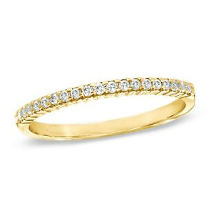 0.55ct Round Stackable Bridal Wedding Petite Anniversary Band 14k Yellow Gold