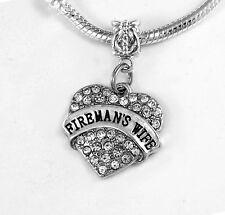 Firemans wife charm Fireman wife Crystal Heart Fire wife jewelry Gift best