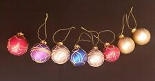 8 Vintage Decorated Christmas Tree Balls Ornaments in Different Colors