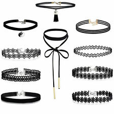 Choker Necklace Set Stretch Velvet Classic Gothic Tattoo Lace Retro Black 10pcs