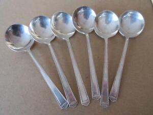 6 1923 ANNIVERSARY Bouillon Soup Spoons 1847 Rogers Silverplate International