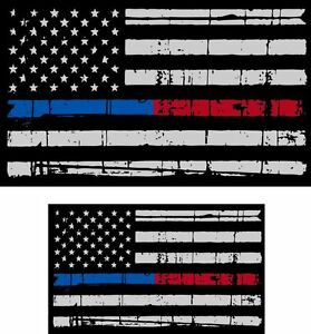 "Tattered Police & Fire Thin Blue/Red Line reflective Flag Decal 5""x3"" & 3""x1.75"""