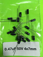 2/5/10/25/50 PC 0.47uF 50V 105C Radial Electrolytic Capacitor 4x7mm USA
