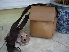 JANE SHILTON LIGHT TAN LEATHER MESSENGER BAG CROSS BODY ORGANIZER TRAVEL BAG
