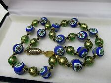 Vintage Antique Murano Venetian Signed Glass Bead Necklace