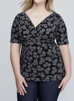 Lane Bryant Surplus Floral Print Stretch Knit Blouse Modest Sleeve 18/20