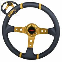 Universal Steering Wheel Deep Dish 6 Bolt 350MM Black Gold Leather JDM Euro USA