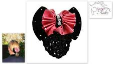 "ERA ""Indi"" Hair Bow Barrette - Dusty Pink Satin & Black Velvet + Crystals"