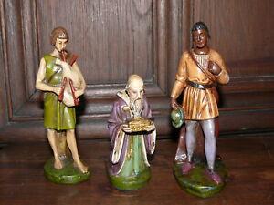 Rarität 3 alte Krippenfiguren Gips 16 cm gemarkt J K J ca. 1930 - 1940
