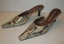 Donald J Pliner Lynda Gold Metallic Snakeskin Python Handmade Spain 7.5 N / 7